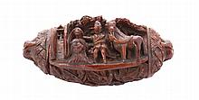 Eighteenth-century carved coconut shell decorated snuff box