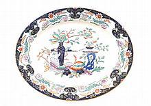 Oval nineteenth-century Chinoiserie plate