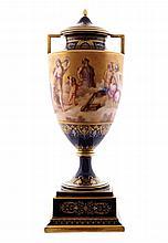 Nineteenth-century Vienna porcelain lidded urn