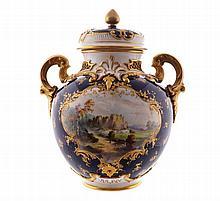 Nineteenth-century Royal Worcester parcel gilt and painted lidded urn