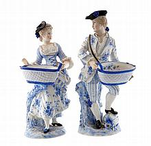 Pair of nineteenth-century German blue and white porcelain figures