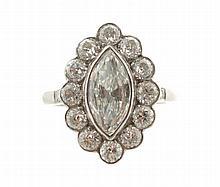 Platinum mounted marquise diamond cluster ring