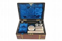 Victorian brass bound mahogany officer's vanity set