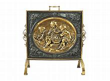 Late nineteenth-century brass and bronze patinated fire screen