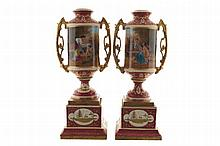 Pair of large singed nineteenth-century painted Vienna urns