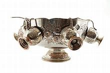Old Sheffield silver plated punch bowl and goblets
