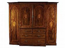 Large nineteenth-century breakfront mahogany and satinwood inlaid wardrobe