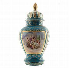 Large Vienna parcel gilt porcelain urn and cover