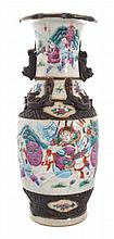 Late Qing period blue and white famille rose crackle glazed vase