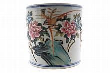 Early twentieth-century Chinese famille rose brush pot