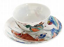 Nineteenth-century Chinese polychrome cup and saucer