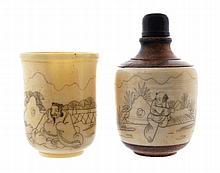 Nineteenth-century ivory cup and a snuff bottle