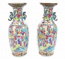 Pair of large Chinese Cantonese famille rose vases?