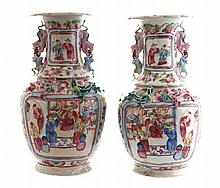 Pair of nineteenth-century Chinese famille rose baluster vases