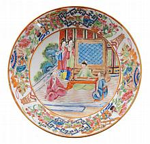 Pair of eighteenth-century Chinese polychrome famille rose saucers