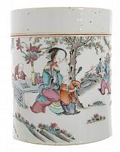 Qing period famille rose jar and cover