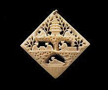 Chinese ivory and gold pendant