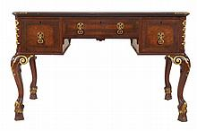 Edwardian period burr walnut and parcel gilt Queen Anne style library table