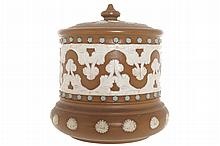 Nineteenth-century Doulton pottery tobacco jar and cover