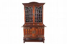 Art Nouveau period mahogany and marquetry leaded glass panelled display cabinet