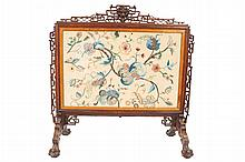 Nineteenth-century embroidered screen