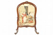 Early Victorian carved oak armorial shaped tapestry fire screen