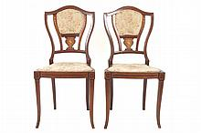 Pair of mahogany and marquetry armorial backed side chairs, circa 1900