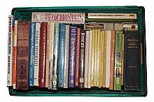 A large box of mostly coffee table books