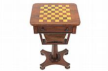 William IV rosewood and chequered inlaid combination games and work table