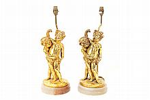 Pair of gilt and alabaster cherub stemmed table lamps