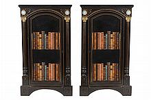 Pair of nineteenth-century ormolu mounted ebony and jasper ware inset side cabinets