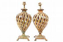 Art metal spiral stemmed table lamps