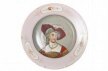 Nineteenth-century painted porcelain portrait plate