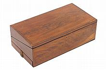 Large George III period mahogany and fruit wood crossbanded travelling lap desk