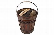Large George III style mahogany and brass bound peat bucket