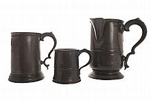 Group of three eighteenth-century pewter tankards