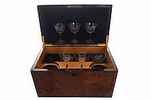 Nineteenth-century burr walnut liqueur box