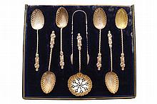 Set of six nineteenth-century silver Apostle spoons and a tea strainer