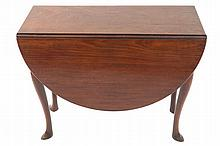 George II period red walnut drop leaf dining table
