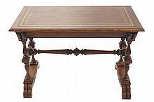 Nineteenth-century burr walnut library table