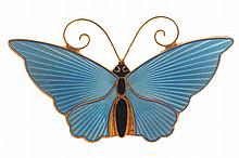 Vintage David Andersen silver and guilloche enamelled butterfly brooch