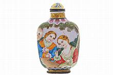 Chinese enamel snuff bottle with European figures