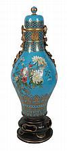 Nineteenth-century Dressler designed polychrome and parcel gilt Minton vase on stand
