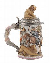 Capodimonte silver mounted and parcel gilt tankard