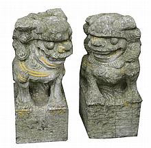 Pair nineteenth-century carved stone fo dogs