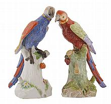 Pair of nineteenth-century porcelain polychrome parrots