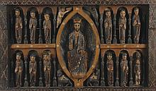 Polychrome wood panel of Christ in Majesty