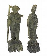 Pair of Chinese soapstone immortals