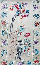 Pair of nineteenth-century Chinese silk embroidered curtains