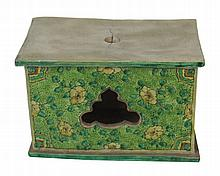 Chinese Qing period green and yellow glazed stand